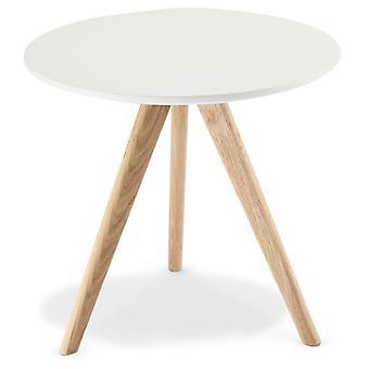 Furnhouse Life Coffee Table, White Top, Black Wooden Legs, 48x48x45 cm