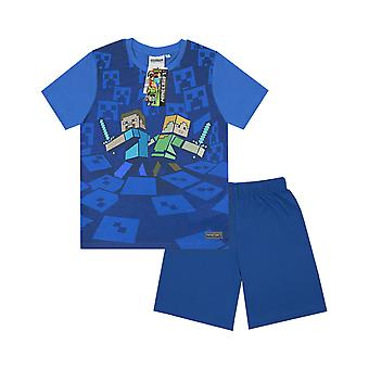 Minecraft Surrounded Boy's Children's Kids Blue Pyjamas Nightwear PJs