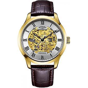 Rotary GS02941-03 Hombres's Reloj de pulsera esqueleto de Greenwich
