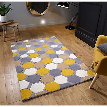 Descent Grey Mustard  Rectangle Rugs Funky Rugs