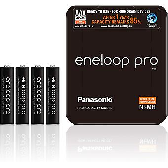 Panasonic eneloop Pro AAA Rechargeable Ready-To-Use Ni-MH Batteries, Pack of 4 (BK-4HCDE/4LE)