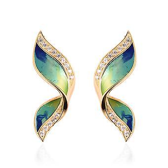 GP Butterfly Wing Stud Blue Sapphire Oorbellen Geel Verguld Zilver, Zircon