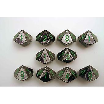 Chessex Gemini 10 x D10 Dice Set - Black-Grey/green