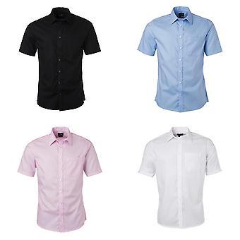 ジェームズ ・ ニコルソン メンズ半袖マイクロ ツイルのシャツ