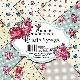 Decorer Rustic Roses 8x8 Inch Paper Pack