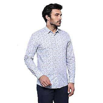 White patterned long sleeve men's shirt | wessi