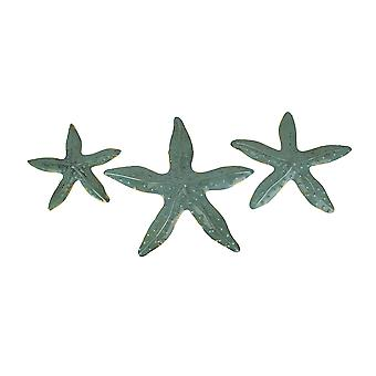 Coastal Green 3 Piece Metal Starfish Beach Wall Decor Set