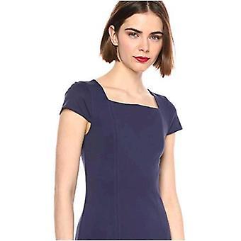 Lærke & Ro Kvinder's Cap Sleeve Square Neck Seamed Fit og Flare Dress, Midnight Blue 10