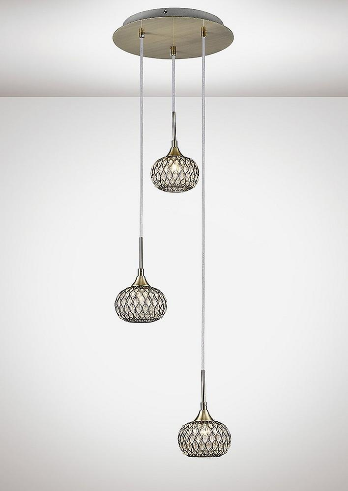 Ceiling Cluster Pendant 3 Light Round Antique Brass, Clear Glass