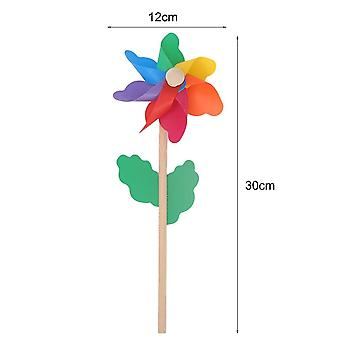 Wind Spinner Simple Pinwheel, Wooden Pole For Garden Decoration