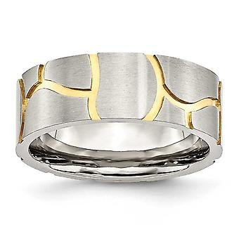 Stainless Steel Satin and Grooved Gold-Flashed Brushed Engravable Mens 8mm Band Ring - Ring Size: 7 to 13
