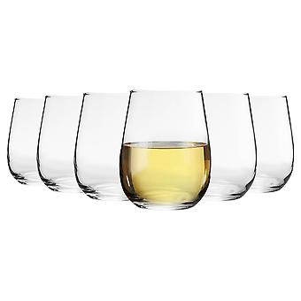 6 Piece Corto Stemless Wine Glasses Set - Modern Style Glass Tumblers for Red, White Wine - 360ml