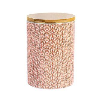 Nicola Spring Geometric Patterned Biscuit Barrel - Large Porcelain Kitchen Storage - Coral - 14.5cm