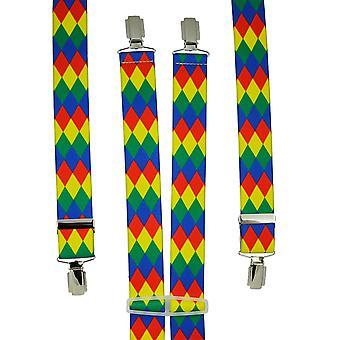 Krawatten Planet Harlekin Check Design rot, gelb, grün & blau Männer's Hosenträger