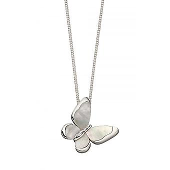 Joshua James Radiance Silver & Mother Of Pearl Butterfly Pendant
