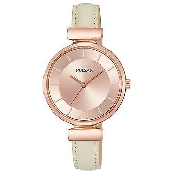 Pulsar señoras crema correa de cuero rosa oro caja 50M reloj (Modelo No. PH8418X1)
