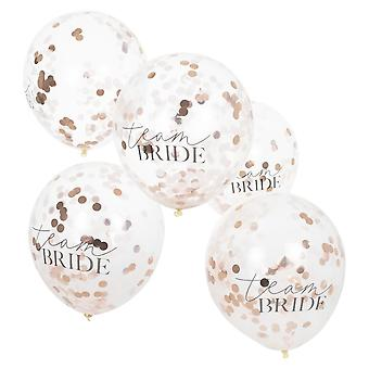 Rose Gold Confetti Team Bride Hen Party Balloons x 5