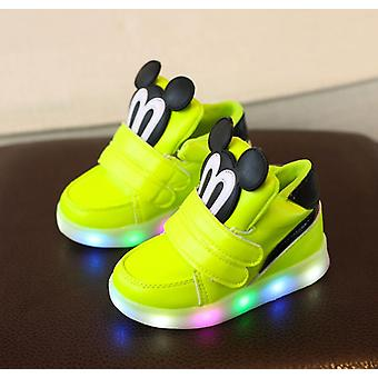 Cartoon Mickey Mouse Pattern, Casual Shoes With Led Light