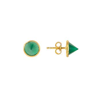 Gemstone Spike Studs Gold Green Onyx Small Gift Silver 925 Punk Small Earrings