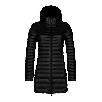 Autumn And Winter New Fashion Down Jacket Women's Thin Mid-length Hooded Korean Style Slim Plus Size Simple Jacket