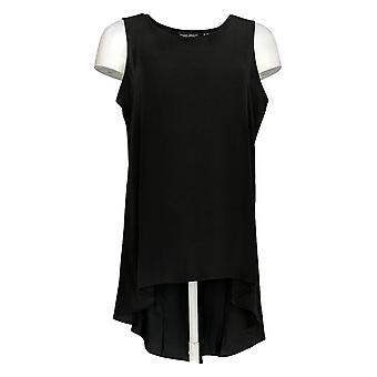 Susan Graver Women's Petite Top Sleeveless Hi-Low Hem Tunic Black A379822