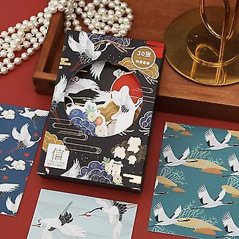 Ancient Style Crane Scene Series, Ansichtkaart Bronzing Wenskaarten, Bladwijzers