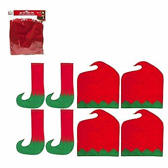 8pcs Christmas Dining Table Chair Back Leg Cover Elf Hat Sock Party Decoration