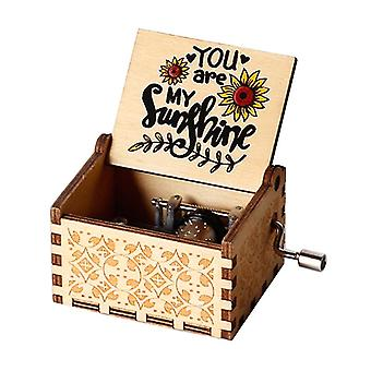 Newest You Are My Sunshine Inspired Quotes Print Wooden Music Box Students