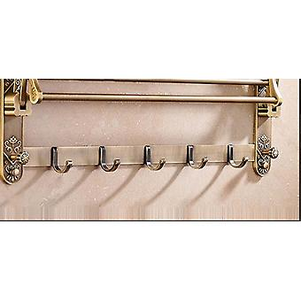 Foldable Antique Style Aluminum Double Towel -shelf With Hooks