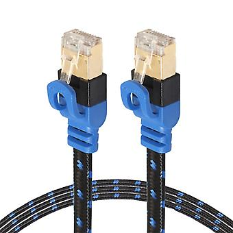 REXLIS CAT7-2 Gold-plated CAT7 Flat Ethernet 10 Gigabit Two-color Braided Network LAN Cable for Modem Router LAN Network, with Shielded RJ45 Connector
