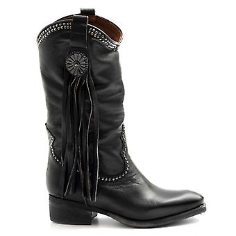 Zoe Texan Black Leather Boots With Studs and Fringes