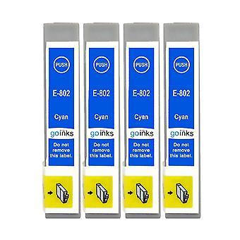 4 Cyan Tintenpatronen ersetzen Epson T0802 Kompatibel/Nicht-OEM von Go Tinten