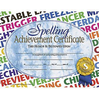"Spelling Achievement Certificate, 8.5"" X 11"", Pack Of 30 H-Va576"