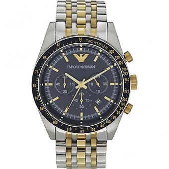 Armani Ar6088 Blauwe wijzerplaat en twee tone Stainless Steel Chronograph Mens Horloge