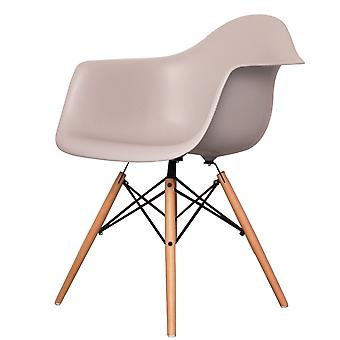 Charles Eames Style Light Grey Plastic Retro Armchair - Natural Wood Legs