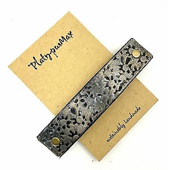 Gold Daisy Prints Rustic Stamped Leather Hair Barrette