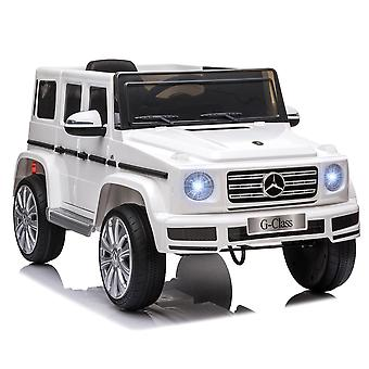 HOMCOM Compatible 12V Battery-powered Kids Electric Ride On Car Mercedes Benz G500 Toy with Parental Remote Control Music Lights MP3 Suspension Wheels for 3-8 Years Old White