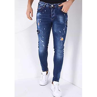 Jeans With Paint Drops - Slim Fit - Blue