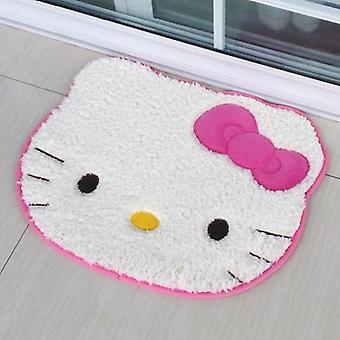 Pink Cartoon Cat Imitation Lambswool Cartoon Bedroom Carpet Doormats