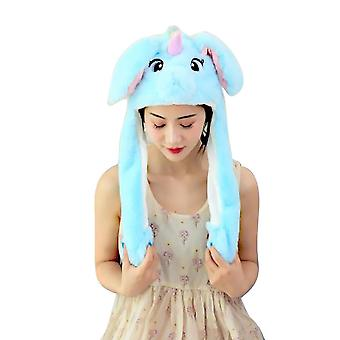 Plush Moving Rabbit Ears Hat, Hand Pinching Ear To Move Vertical, Cap Kids,