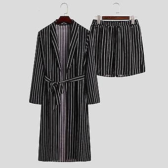 Fashion Men Striped Robes Sets Sleepwear Long Sleeve Sexy Lace Up Bathrobes