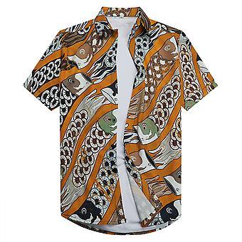 Allthemen Men's 3D Printed Shirt Cyprinoid Japanese Style Short-sleeved Lapel Top