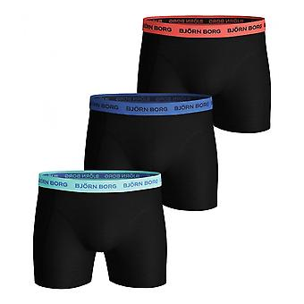 Bjorn Borg 3-Pack Neon Waistband Boxer Trunks, Black W/ Blue/coral