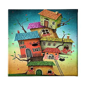 Pintura de casas multicolores en poliéster, madera, L60xP3xA60 cm