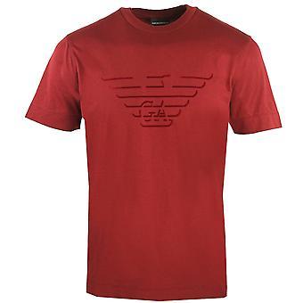 Emporio Armani Eagle Flock Logo Punainen T-paita
