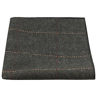 Lujoso espiga carbón gris tweed bolsillo cuadrado