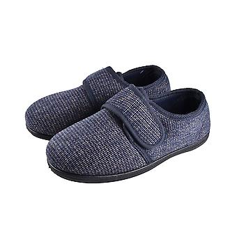Dunlop Mens Strap Slippers with Faux Fur Lining and Memory In-Sock  - Navy