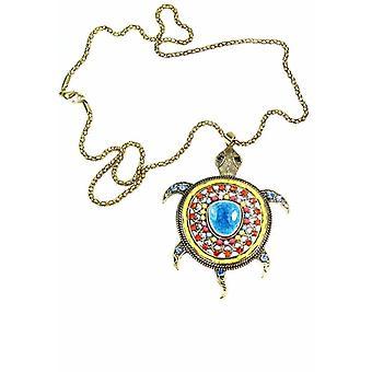 Big Turtle Shimmer Pendant Necklace