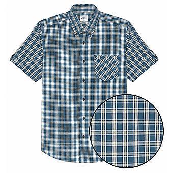 BEN SHERMAN Ben Sherman hombres de gran tamaño Twill comprobar algodón camisa de manga corta