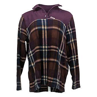 Cuddl Duds Women's Fleecewear Stretch Snap-Front Pullover Purple A381756